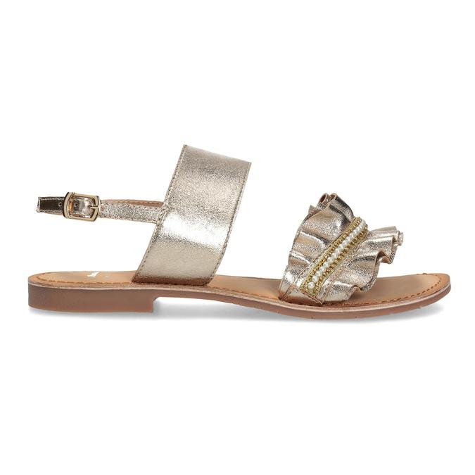 Złote skórzane sandały zperełkami bata, złoty, 566-8632 - 19