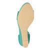 Turkusowe sandały zfalbanką, na koturnach insolia, 769-9618 - 18