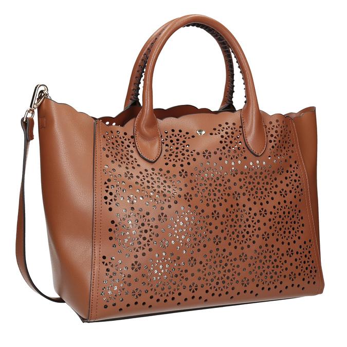 Brązowa torebka damska zperforowanym wzorem bata, brązowy, 961-3265 - 13