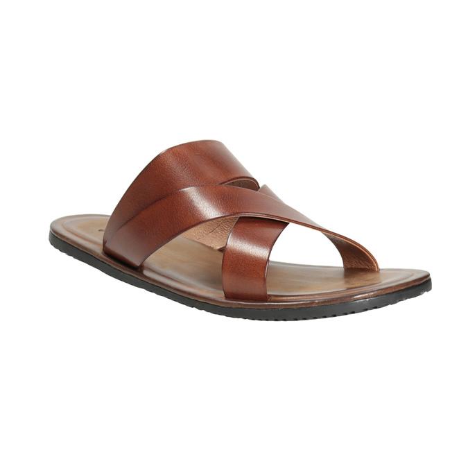Brązowe skórzane klapki męskie ze skrzyżowanymi paskami bata, brązowy, 866-3603 - 13