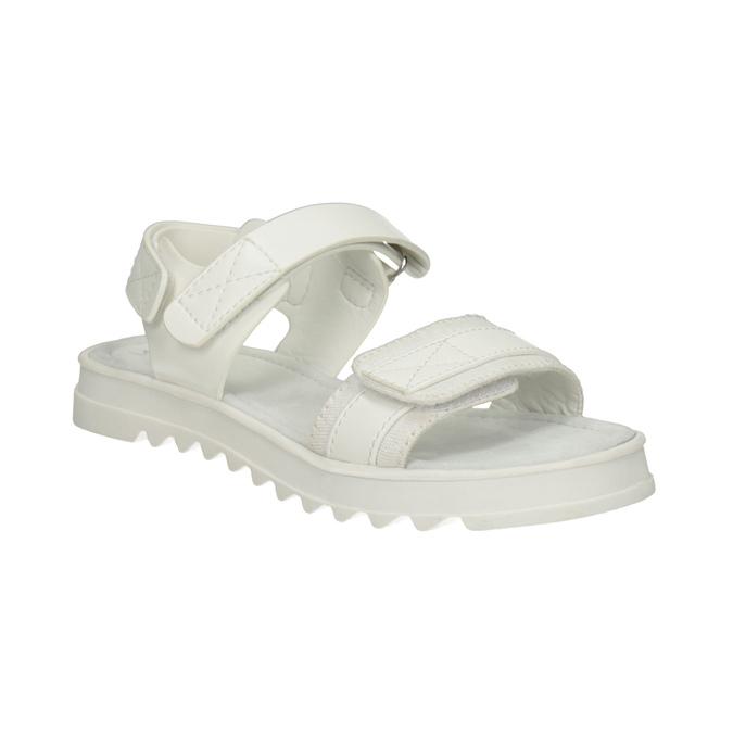 Białe sandały dziewczęce na podeszwie zbieżnikiem mini-b, biały, 361-1613 - 13