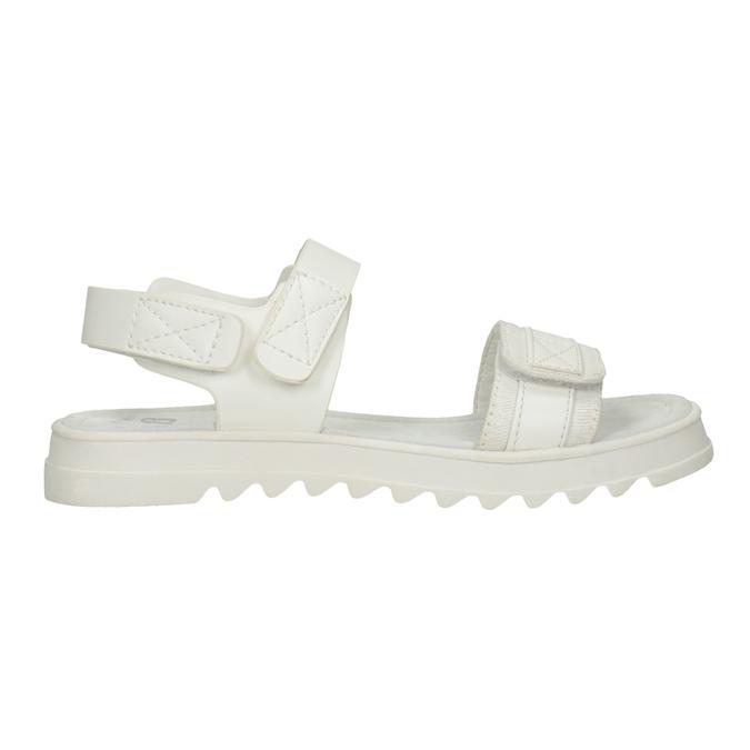Białe sandały dziewczęce na podeszwie zbieżnikiem mini-b, biały, 361-1613 - 16