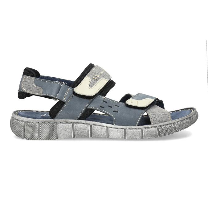 Granatowe skórzane sandały męskie na rzepy bata, szary, 866-9640 - 19