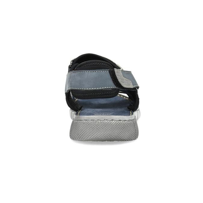 Granatowe skórzane sandały męskie na rzepy bata, szary, 866-9640 - 15
