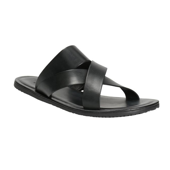 Czarne skórzane klapki męskie ze skrzyżowanymi paskami bata, czarny, 864-6603 - 13