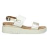 Sandały damskie ze złotymi paskami, na platformie bata, biały, 661-1614 - 19