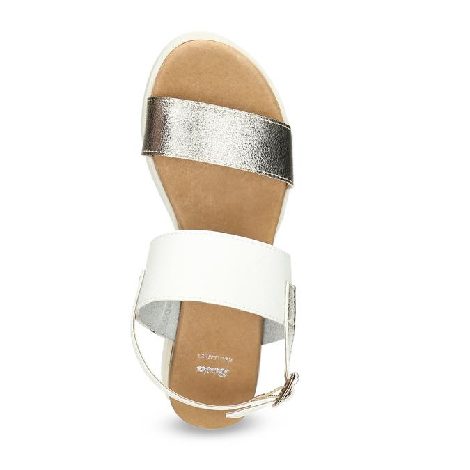 Sandały damskie ze złotymi paskami, na platformie bata, biały, 661-1614 - 17