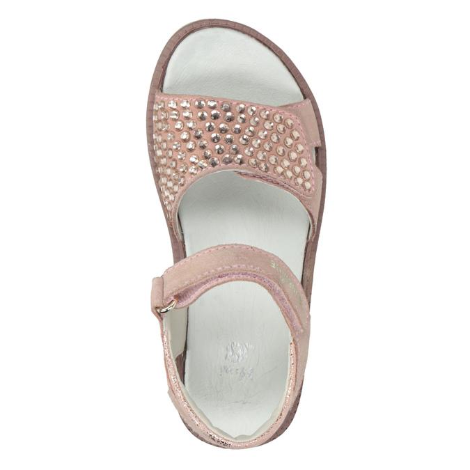 Różowe skórzane sandały dziewczęce zkryształkami mini-b, różowy, 463-5603 - 17