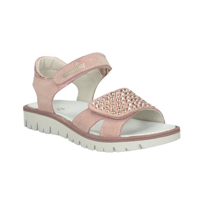Różowe skórzane sandały dziewczęce zkryształkami mini-b, różowy, 463-5603 - 13
