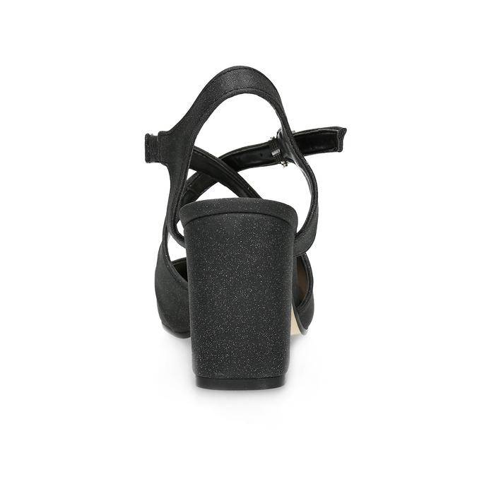 Czarne sandały damskie zbrokatem, na obcasach insolia, czarny, 726-6653 - 15