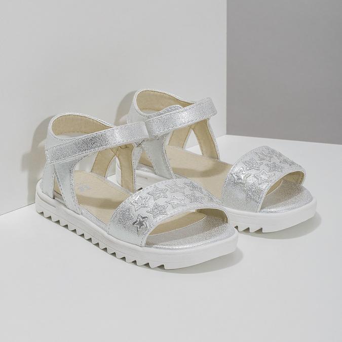 Srebrne sandały dziewczęce zgwiazdkami mini-b, biały, 261-1211 - 26