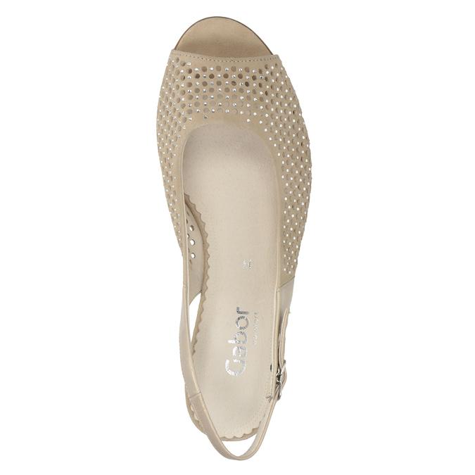 Beżowe skórzane sandały oszerokościH, zkryształkami gabor, beżowy, 663-8019 - 15