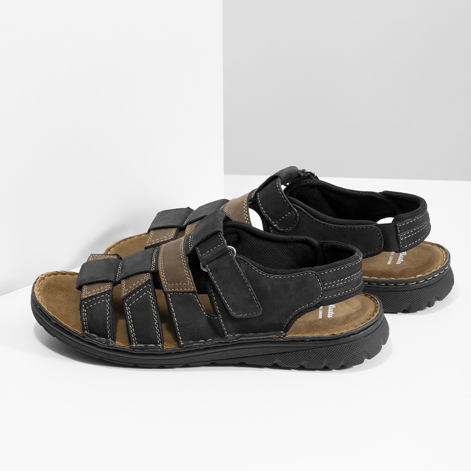Letnie zamszowe sandały męskie bata, brązowy, 866-4610 - 16