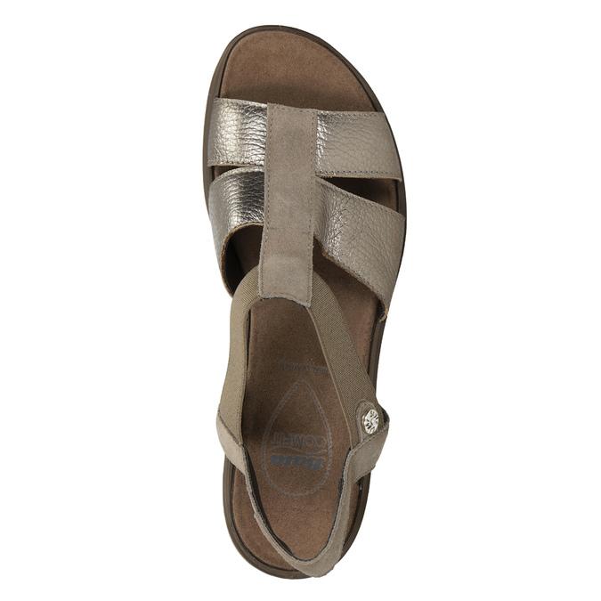 Skórzane sandały na koturnach comfit, brąz, 666-8620 - 17