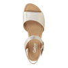 Srebrne skórzane sandały na koturnach gabor, srebrny, 766-5015 - 15