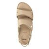 Beżowe skórzane sandały damskie na rzepy, beżowy, 566-8634 - 17