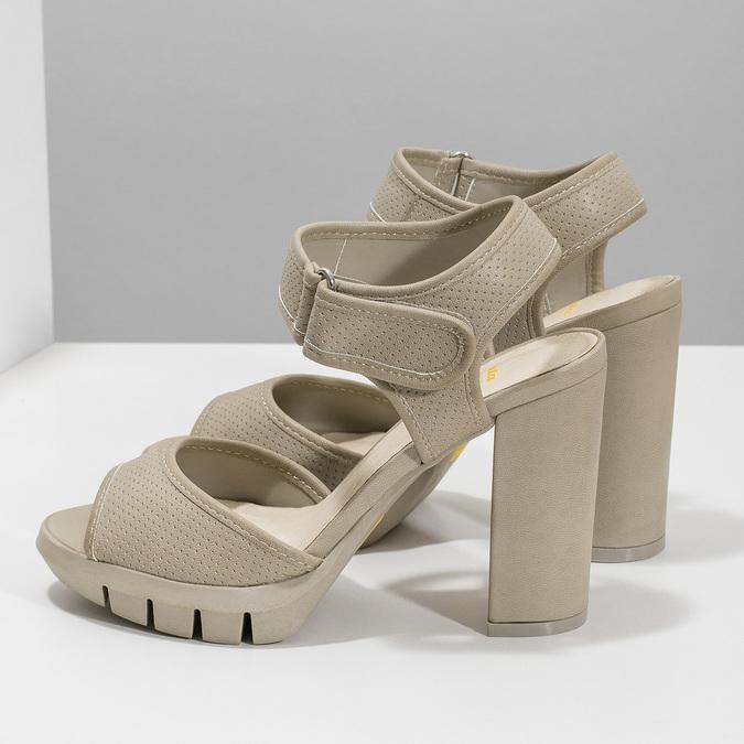 Sandały na grubych słupkach flexible, beżowy, 761-2616 - 16