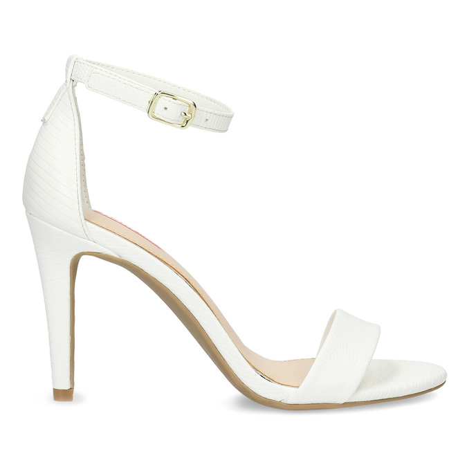 Białe sandały na szpilkach, biały, 661-1610 - 19