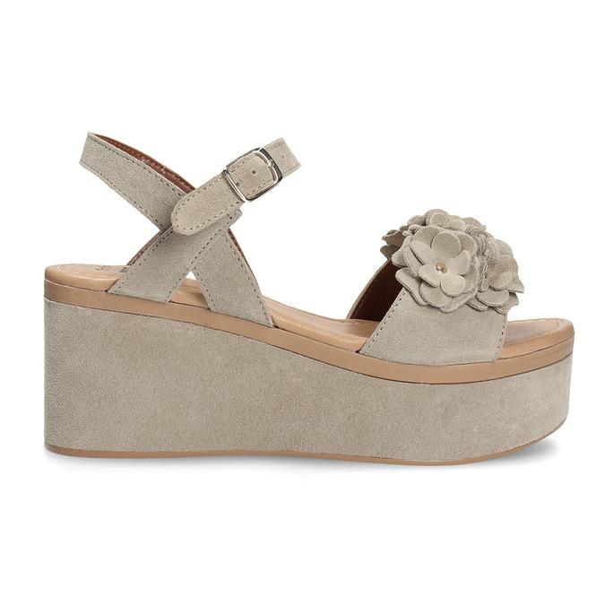 Skórzane sandały damskie na platformie bata, beżowy, 763-3601 - 19