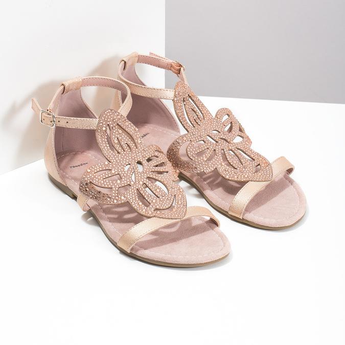 Sandały damskie wkolorze starego różu, ozdobione kryształkami bata, różowy, 561-5614 - 26