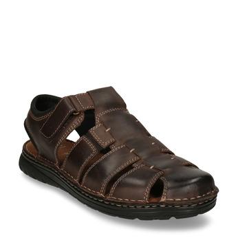 Brązowe skórzane sandały męskie zpełnymi noskami bata, brązowy, 866-4616 - 13
