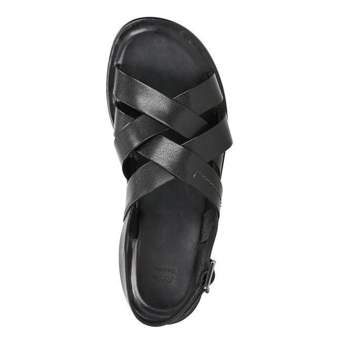 Czarne skórzane sandały ze skrzyżowanymi paskami bata, czarny, 864-6602 - 17