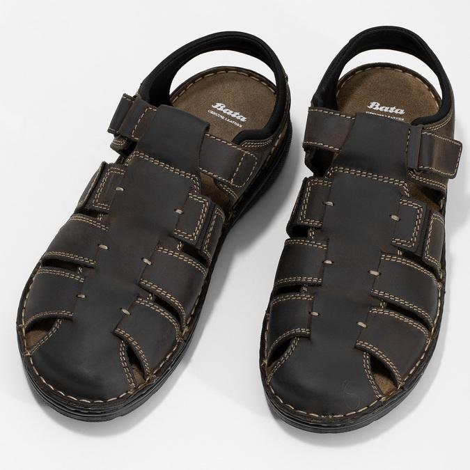Brązowe skórzane sandały męskie zpełnymi noskami bata, brązowy, 866-4616 - 16