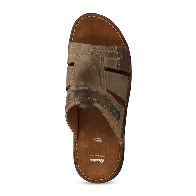 Skórzane klapki męskie zprzeszyciami bata, brązowy, 866-4615 - 17