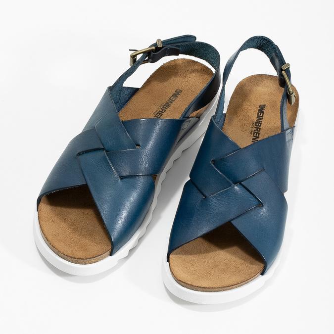 Skórzane sandały damskie weinbrenner, niebieski, 566-9628 - 16