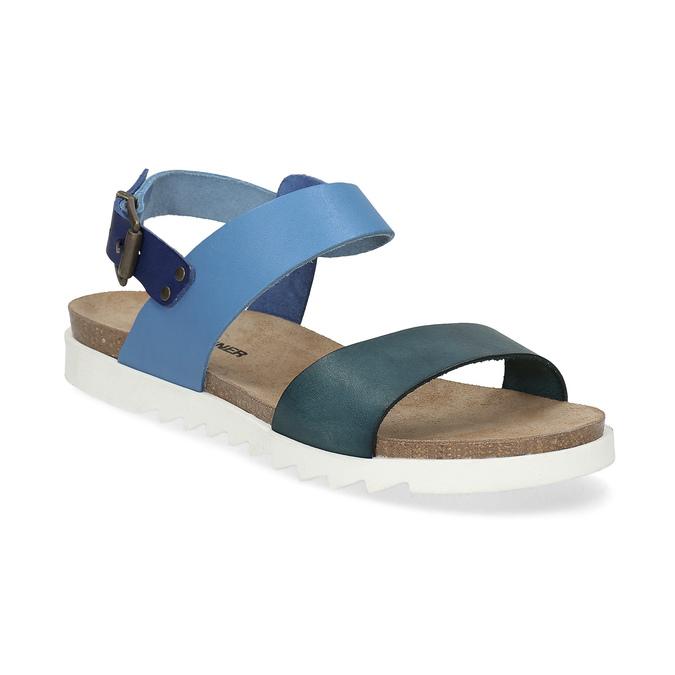 Niebieskie skórzane sandały damskie weinbrenner, niebieski, 566-9643 - 13