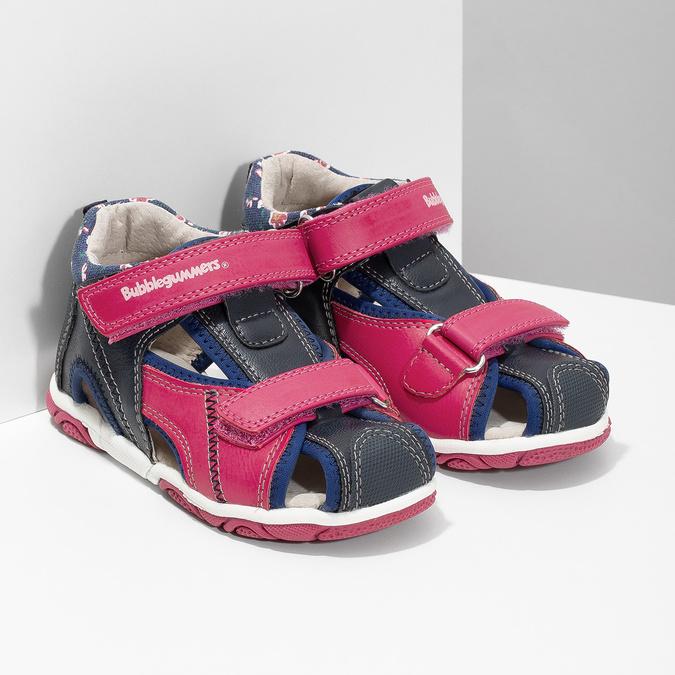 Sandały dziewczęce na rzepy bubblegummer, różowy, 161-5604 - 26