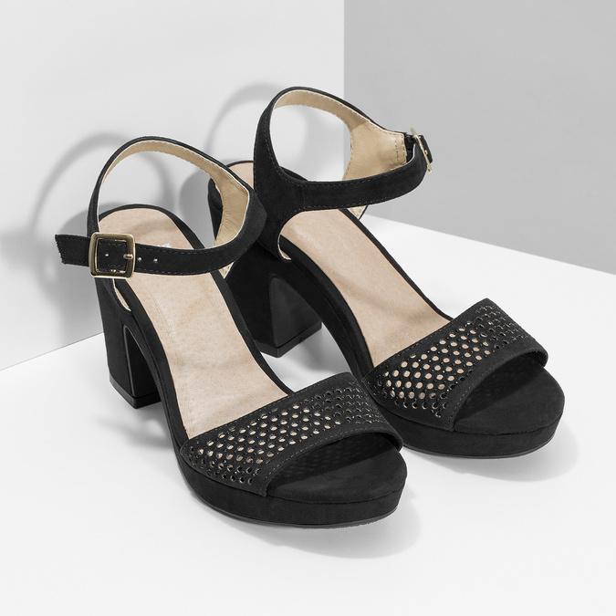 Czarne sandały na grubych obcasach, zkryształkami insolia, czarny, 669-6624 - 26