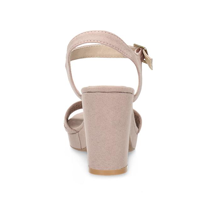 Sandały na grubych obcasach, zkryształkami insolia, różowy, 669-8624 - 15