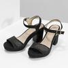 Czarne sandały na grubych obcasach, zkryształkami insolia, czarny, 669-6624 - 16
