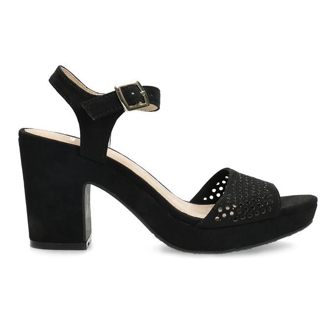 Czarne sandały na grubych obcasach, zkryształkami insolia, czarny, 669-6624 - 19