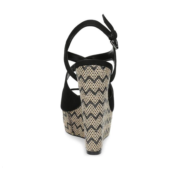 Czarne sandały damskie na wzorzystych koturnach insolia, czarny, 769-6622 - 15