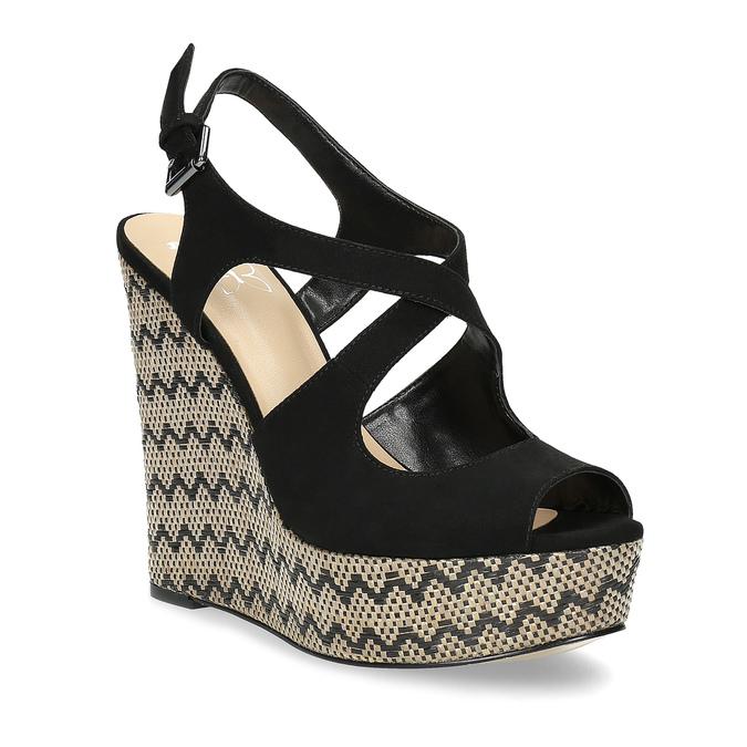 Czarne sandały damskie na wzorzystych koturnach insolia, czarny, 769-6622 - 13