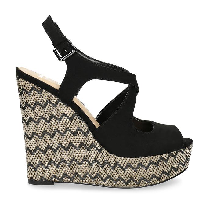 Czarne sandały damskie na wzorzystych koturnach insolia, czarny, 769-6622 - 19
