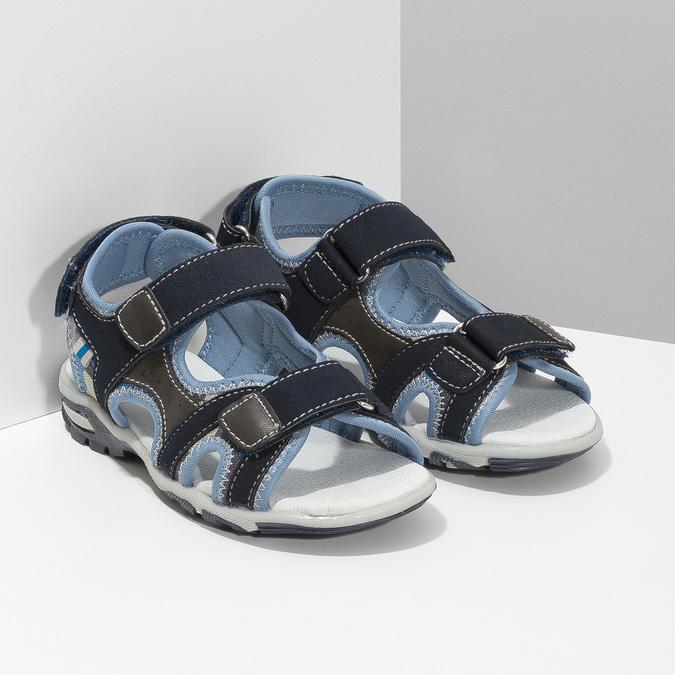 Granatowe sandały chłopięce zzapięciami na rzepy mini-b, niebieski, 261-9608 - 26