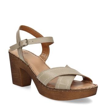 Beżowe skórzane sandały na drewnianych obcasach comfit, beżowy, 666-8624 - 13