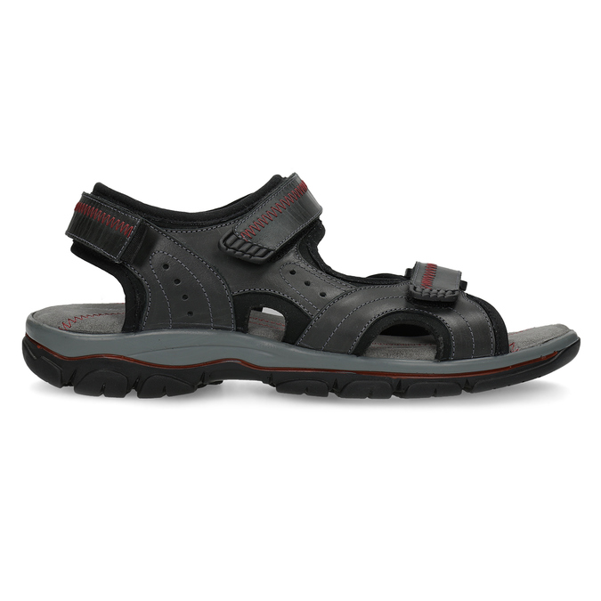 Czarne skórzane sandały męskie na rzepy weinbrenner, czarny, 866-6635 - 19