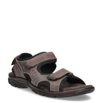 Brązowe skórzane sandały męskie na rzepy weinbrenner, brązowy, 866-4635 - 13