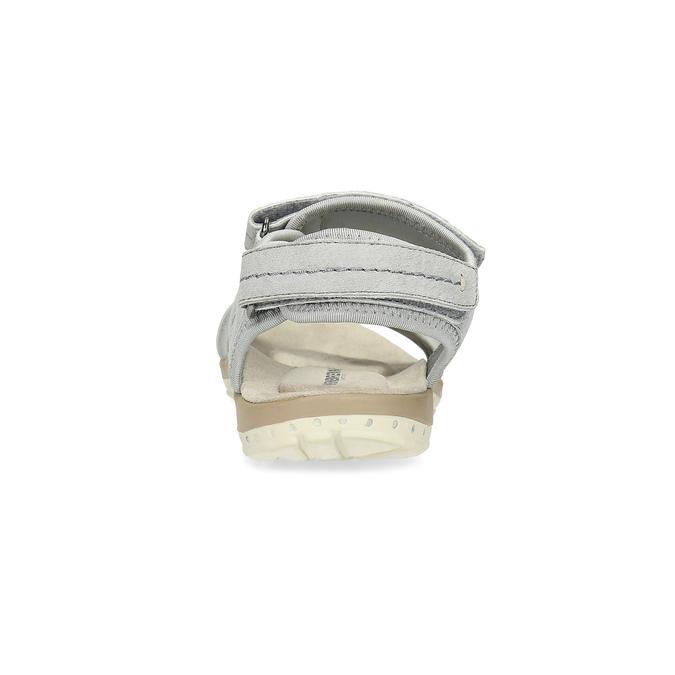 Skórzane sandały damskie na rzepy weinbrenner, szary, 566-2608 - 15