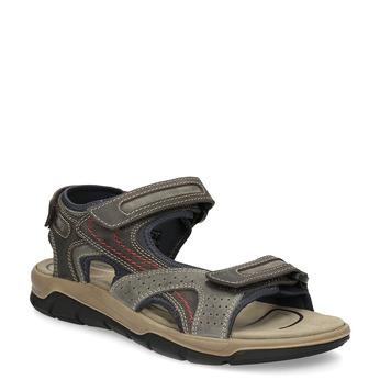 Brązowe skórzane sandały na rzepy weinbrenner, brązowy, 866-4642 - 13