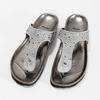 Skórzane japonki zkryształkami, na koturnach bata, szary, 566-2650 - 16