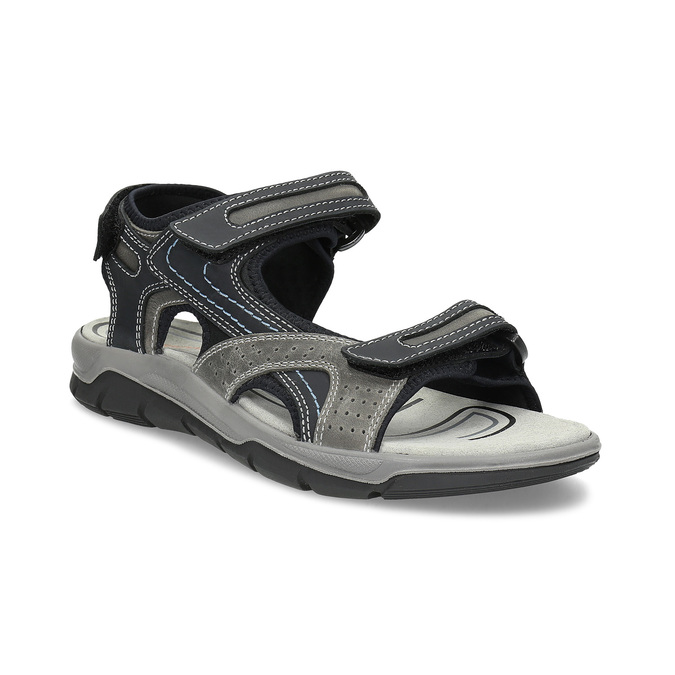 Skórzane sandały męskie na rzepy weinbrenner, szary, 866-2642 - 13
