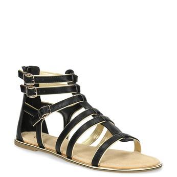Czarno-złote sandały damskie bata, czarny, 561-6620 - 13