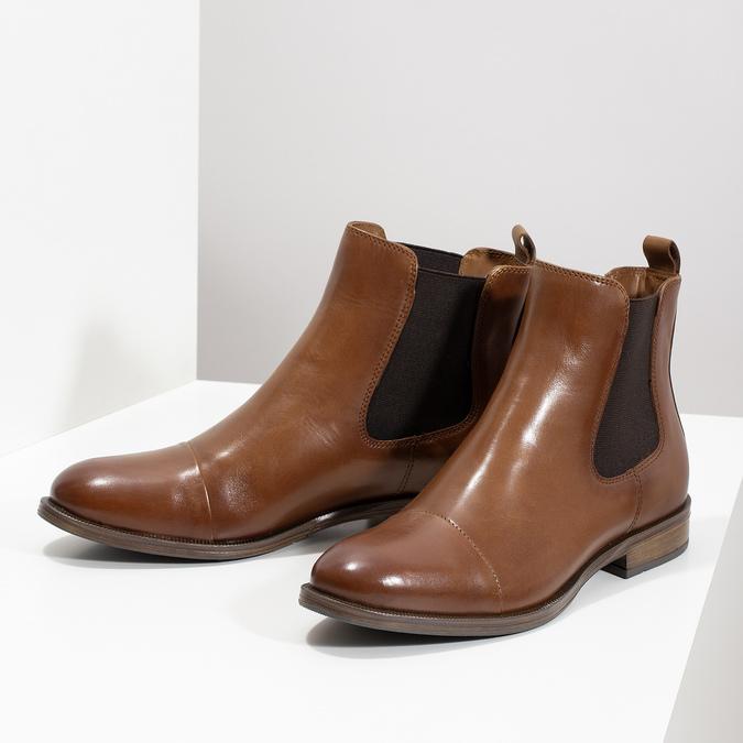 Brązowe skórzane obuwie damskie typu chelsea bata, brązowy, 594-4636 - 16