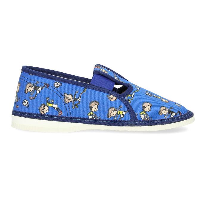 Granatowe wzorzyste kapcie dziecięce bata, niebieski, 179-9213 - 19