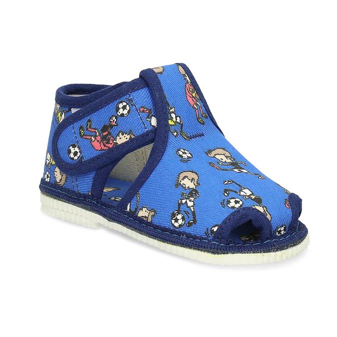 Granatowe wzorzyste kapcie dziecięce za kostkę bata, niebieski, 179-9212 - 13